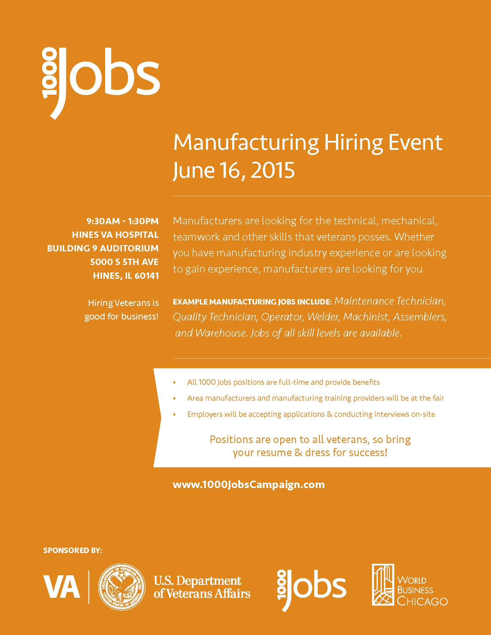 Hines VA Hospital to host Manufacturing Hiring Event