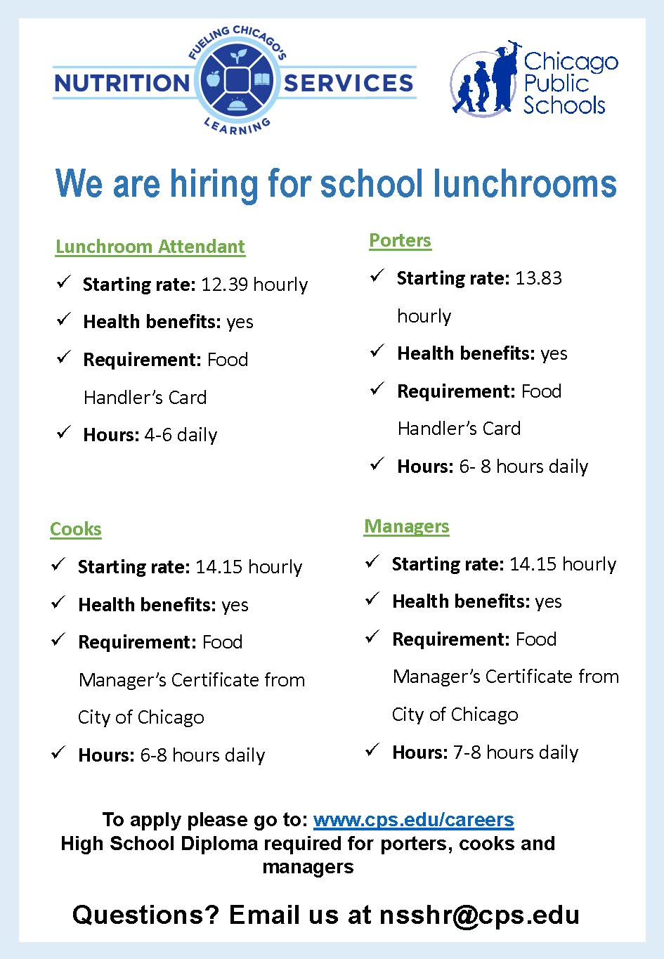 Cps is hiring for school lunchrooms 1betcityfo Choice Image